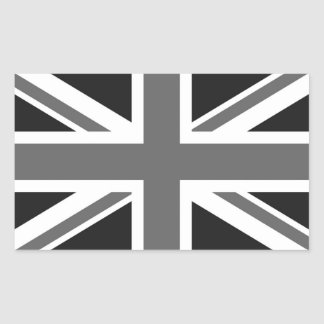 Black & White British Flag Rectangular Sticker
