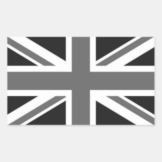 Black & White British Flag Rectangular Sticker