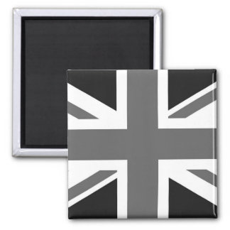 Black & White British Flag Square Magnet