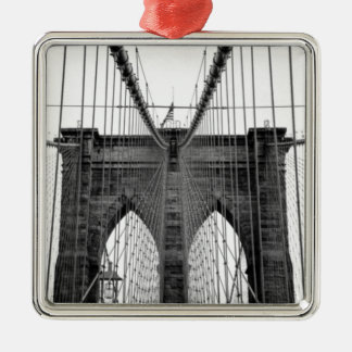 Black White Brooklyn Bridge New York Christmas Ornament