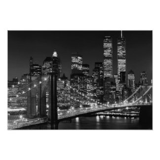 Black White Brooklyn Bridge New York Night Poster