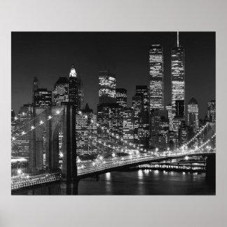 Black White Brooklyn Bridge New York Night Poster