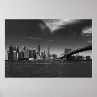 Black White Brooklyn Bridge New York Poster