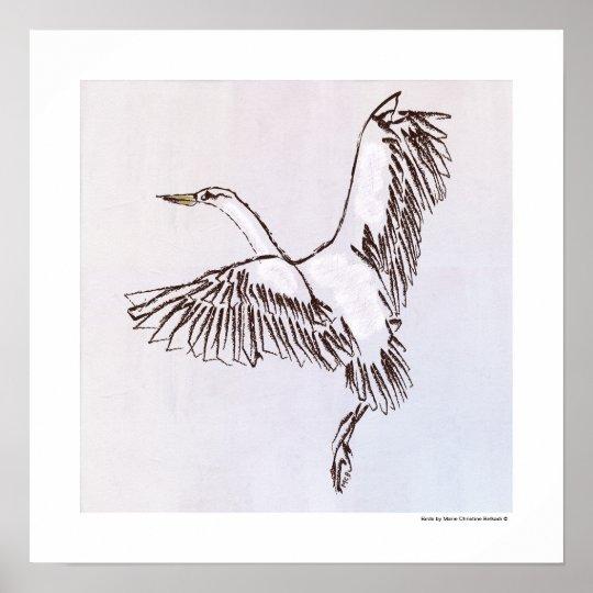 Black white brown heron bird flying fine art