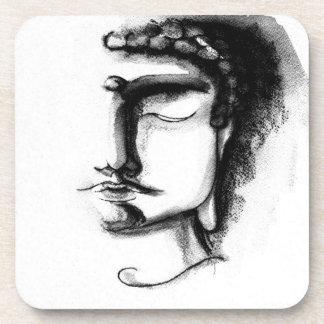 BLACK & WHITE BUDDHA 1 Plastic Coasters - Set of 6