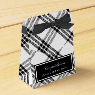 Black & White Buffalo Check Favour Box