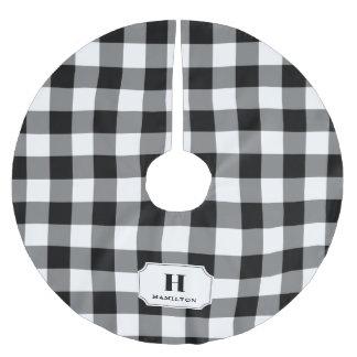 Black & White Buffalo Plaid Monogram Brushed Polyester Tree Skirt