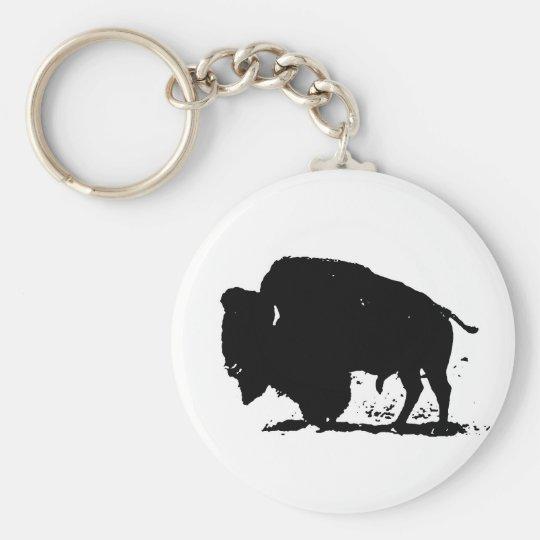 Black & White Buffalo Silhouette Basic Round Button Key Ring