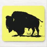 Black & White Buffalo Silhouette Mouse Pad