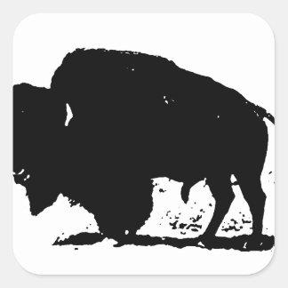 Black & White Buffalo Silhouette Square Stickers