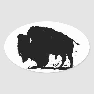 Black White Buffalo Silhouette Stickers