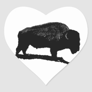 Black White Buffalo Heart Sticker