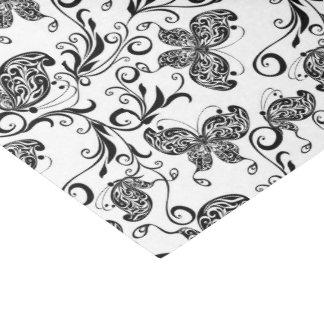 Black & White Butterflies & Flowers Pattern Tissue Paper
