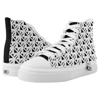 Black White Butterfly Motif High Top Shoes