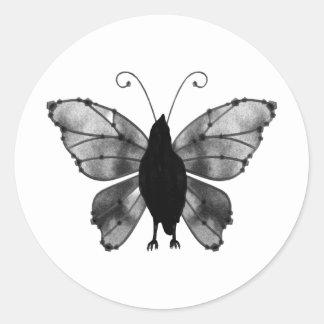 Black & White Butterfly Raven Classic Round Sticker