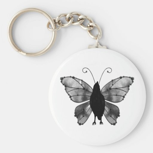 Black & White Butterfly Raven Key Chains