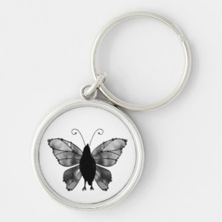 Black & White Butterfly Raven Silver-Colored Round Key Ring