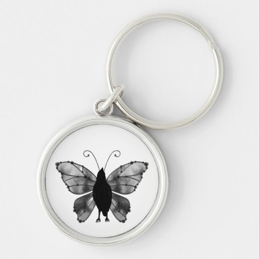 Black & White Butterfly Raven Keychains