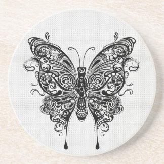 Black & White Butterfly-Tattoo Art Beverage Coaster