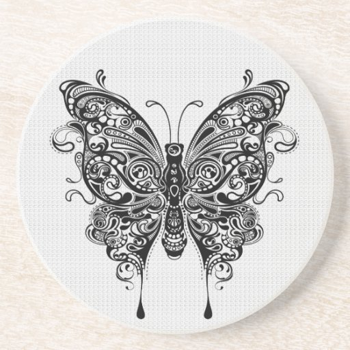 Black & White Butterfly-Tattoo Art Drink Coasters