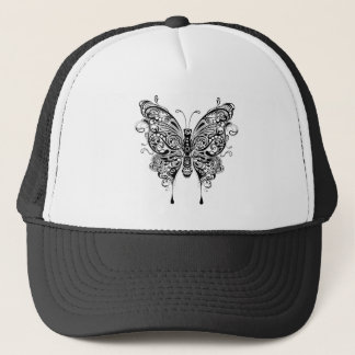 Black & White Butterfly-Tattoo Style Trucker Hat