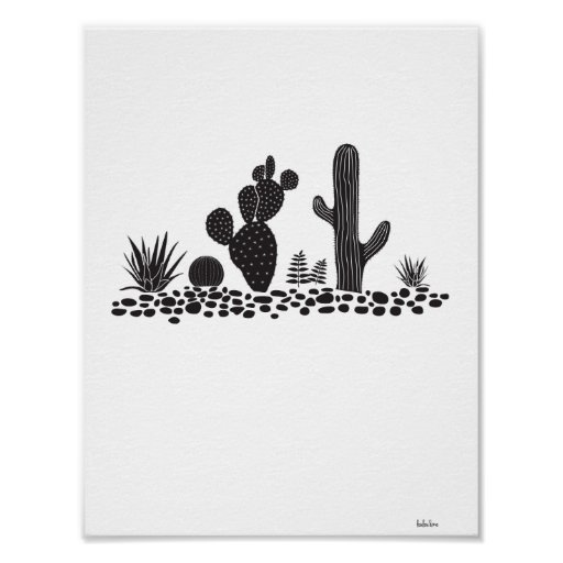 Black & White Cactus and Succulents Poster