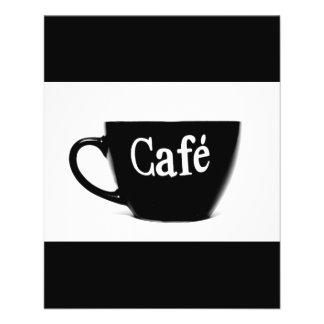 BLACK WHITE CAFE COFFEE MUG MORNING BEVERAGE LOGO 11.5 CM X 14 CM FLYER