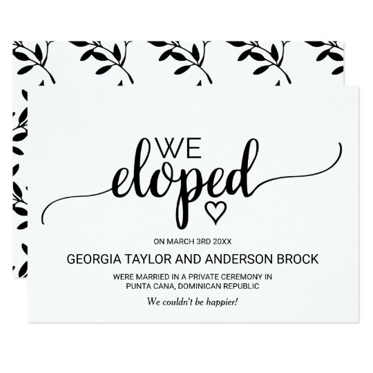 Black & White Calligraphy Elopement Announcement