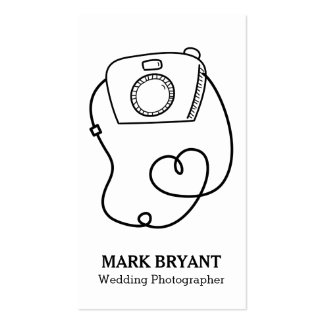Black, White, Camera Doodle, Wedding Photographer Double-Sided Standard Business Cards (Pack Of 100)