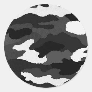 Black & White Camo Round Sticker