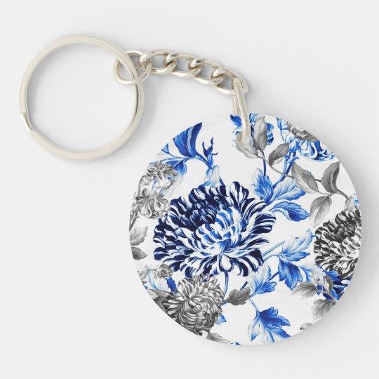 Black & White Capri Blue Botanical Floral Toile Double-Sided Round Acrylic Key Ring