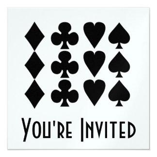 Black & White  Card Suits 1 13 Cm X 13 Cm Square Invitation Card