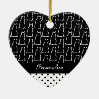 Black & White Cat and Star Pattern Ceramic Heart Decoration