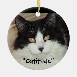 Black & white Cat Catitude! Christmas Ornament