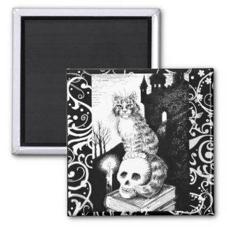 Black & White Cat Halloween kitten skull magnet