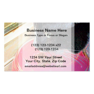 black white cat head pink bowl sparkle animal pet business card
