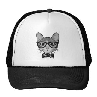Black White Cat Hipster with Bow Tie Trucker Hat