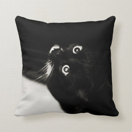 Black & White Cat Noire Kitten Art Cushion