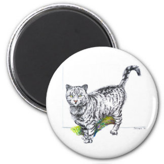 Black white cat pencil drawing fridge magnets