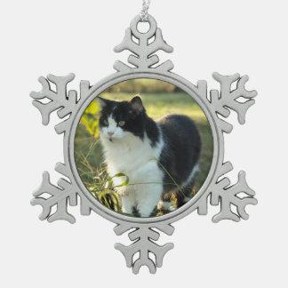 Black & White Cat Pewter Christmas Ornament