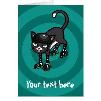 Black white cat Rollerskates customisable template