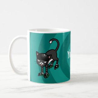 Black white cat Rollerskates customisable template Basic White Mug