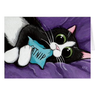 Black & White Cat with Catnip Pillow - Cat Art Card