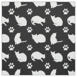 Black White Cats and Paws Print Fabric