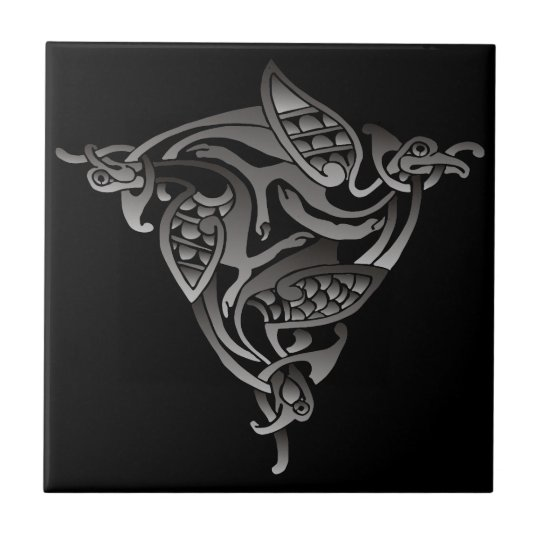 Black White Celtic Bird Tile