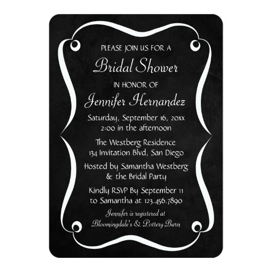 Black & White Chalkboard Bridal Shower Invitation