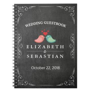 Black White Chalkboard Love Bird Wedding Guestbook Notebook
