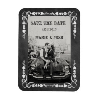 Black & White Chalkboard Photo Save The Date Magnets