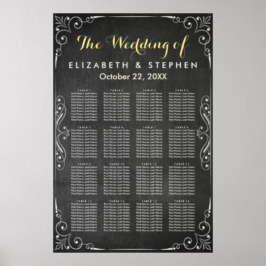 Black & White Chalkboard Wedding Seating Chart