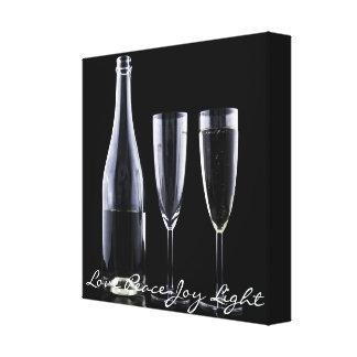 Black White Champagne Bottle Flute Glasses Festive Canvas Print